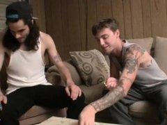 Tattooed straight vidz guys tugging  super hard after strip poker
