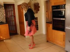 Black blouse vidz and pink  super pleated skirt