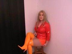 Red orange vidz pvc outfit