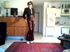 Posing in vidz Brown Rubber  super Slacks