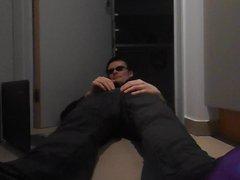 Wank in vidz patterned sheer  super socks, shiny shoes & suit