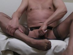 Brown ff vidz stockings, garter,  super 2 dry orgasms, lol