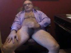 Suited dad vidz wank and  super cum on cam