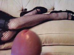 Cum tribute vidz fishnet legs  super black heels