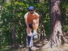 18 year vidz old boy  super strip in the woods