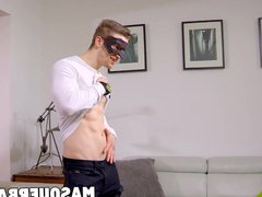 Solo cock vidz masturbation with  super handsome masked jock