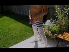 Nude Jerk vidz Off Outside  super in my Thigh High Socks