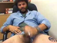 Italian Str8 vidz Guy records  super his own Cumshot at the Office #175