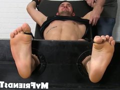 Two guys vidz have freaky  super feet play with a tied up gay stud