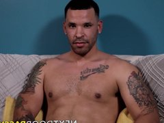 Tattooed jock vidz grabs his  super giant trimmed dick and jerks it off