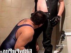 Fat weirdo vidz blows hung  super biker boy and craves for a piss fest