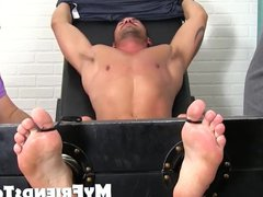 Muscle jock vidz stripped down  super for a tour of the tickle machine