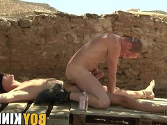 Young sub vidz twink roped  super down for frotting with master