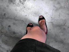 POV Emma vidz walking in  super a short miniskirt