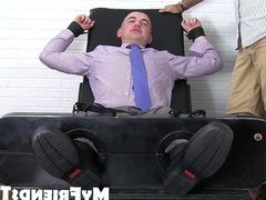 Feet fetish vidz businessman takes  super a ride on my tickling machine
