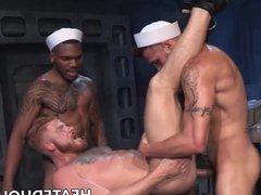 Hunky sailors vidz butt banging  super in interracial threesome