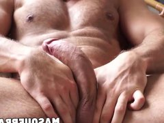Muscular gay vidz hunk playing  super with his big curved cock