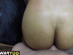 Black dude vidz receives ass  super hammering in big white cock threeway