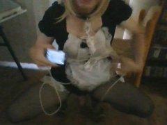 Chastised sissy vidz maid takes  super a selfie