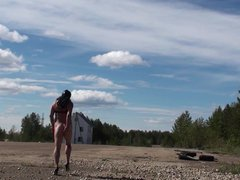 Velena is vidz naked on  super the road in a public place.