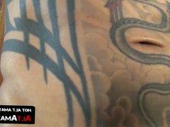 Tattooed Asian vidz homosexual stud  super rubs his hairy dick solo