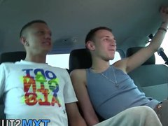Young gay vidz spitroasted in  super threeway after picked up by car