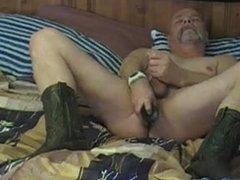 Old guy vidz dildo play  super and cum
