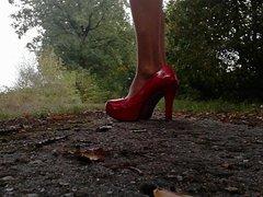 Man in vidz Nylon and  super high heels