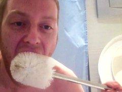 Humiliated toilet vidz brush licking  super faggot