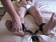 Sexy feet vidz twink blindfolded  super and restrained for a jerk off