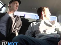 Intense anal vidz fucking and  super cock sucking threesome in a car