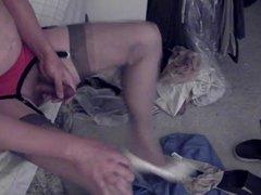 White heels, vidz beige pantys,  super and rht stockings
