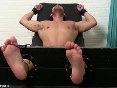Jock on vidz the bondage  super device receives freaky double tickling