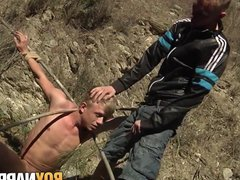 Bound submissive vidz twink sucks  super dick and gets candle waxed