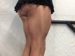 Tan thighs, vidz cock in  super black mini skirt .