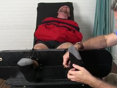 Bearded hunk vidz tickled by  super a mature deviant while being bound