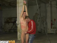 Roped down vidz homo whipped  super and tugged for masters enjoyment