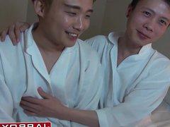 Young gay vidz Asian earns  super facial after sucking dick