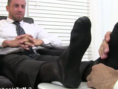 Deviant businessman vidz Ray toe  super licked while masturbating