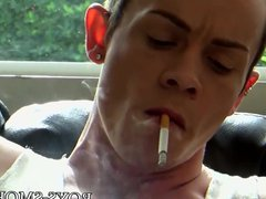 Young gay vidz smoking cigs  super while masturbating passionately