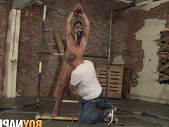 Tied up vidz Cameron James  super cums load after hardcore treatment