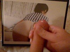 Cumming on vidz Cute Asian  super Ass (Tribute)
