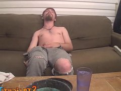 Straight bearded vidz dude wanks  super off while smoking his cigarettes