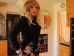 Black top, vidz floral skirt  super and shiny black tights