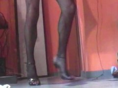 Fishnet pantyhose vidz and heels  super cum