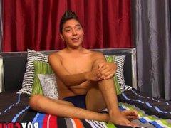 Latino twink vidz Brycen Russell  super interviewed jerking and cumshot