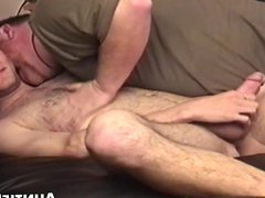 Hairy young vidz gay cums  super hard after workplace anal play
