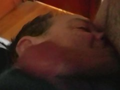 Choked on vidz cock, covered  super in cum.