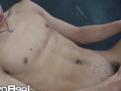 Good looking vidz Japanese twink  super plays with his hairy cock solo
