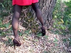 High heels vidz in nylon  super stockings with an arrow and red dress